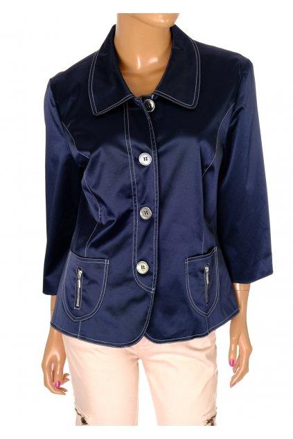 Sako modré lesklé se zipsy a stříbrnými knoflíky vel M