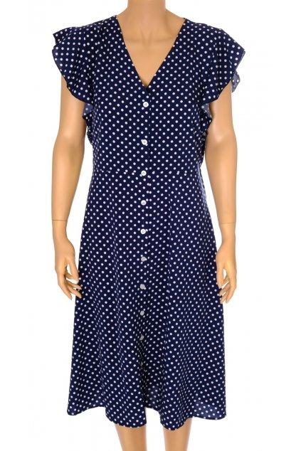 Šaty modré bílý puntík s volánky na knoflíky vel M