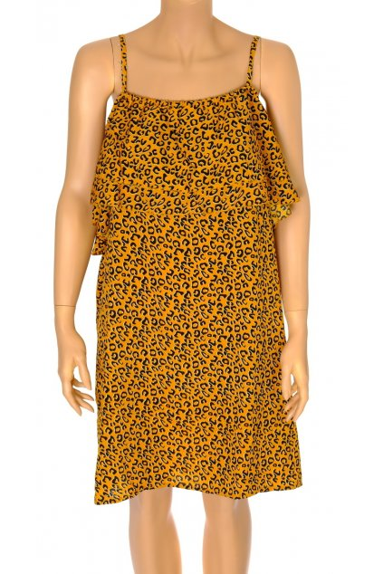 Šaty Pepco žluté s černým vzorkem na ramínka NOVÉ S VISAČKOU vel L