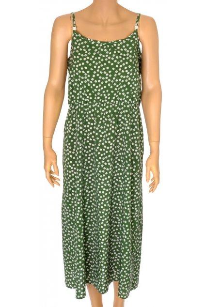 Šaty Shein zelené s bílými kvítky na ramínka dlouhé vel M