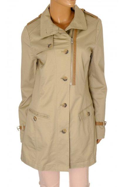 Kabát přechodní Zero béžový zdobený koženkou vel S