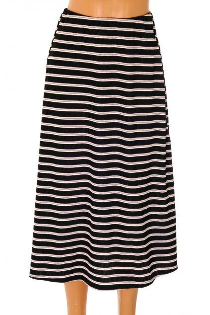 Sukně Select černá s bílo růžovými proužky NOVÁ S VISAČKOU vel L / 44 / uk 16