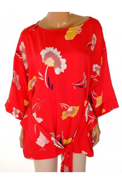Halenka Debenhams červená s velkými barevnými květy vel XL / uk 20