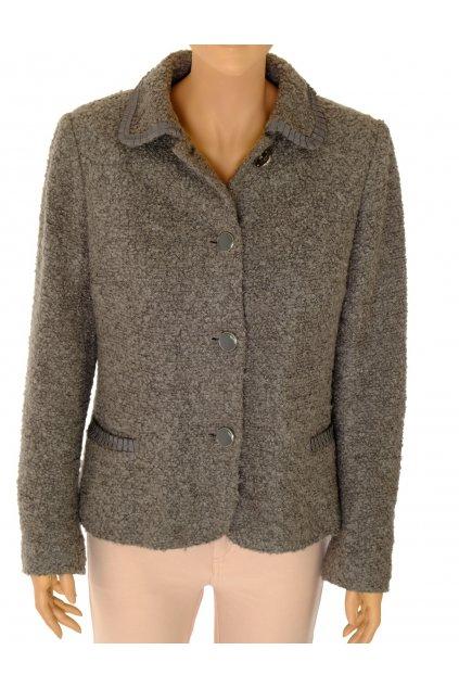 Kabátek M&S šedý na knoflíky zdobené kapsičky a límec vel M