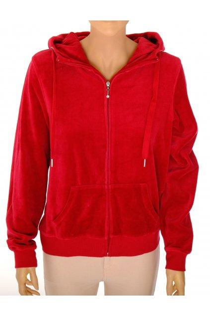 Mikina Amisu sametová červená s kapucí vel L