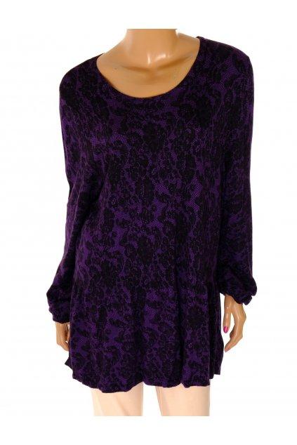 Svetr pulover M&S fialový s černým krajkovým vzorem XXL / uk 24
