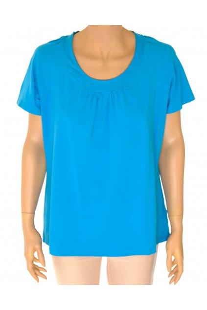 Tričko Tchibo modré řasené u výstřihu vel L