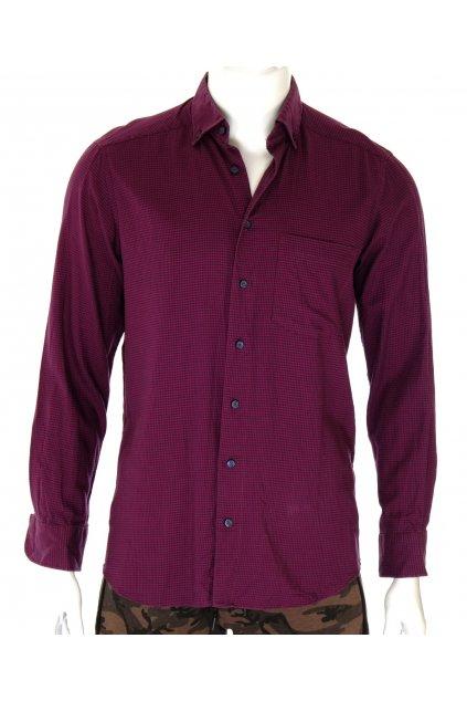 Košile Cotton fialová modrá kuří stopa s kašmírem vel M