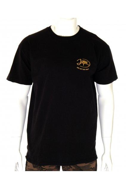 Tričko Fruit Loom černé se zlatým nápisem vpředu a na zádech vel XL