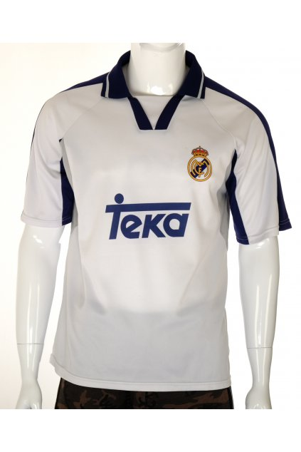 Tričko dres sportovní bílé s modrým límečkem s číslem a nápisem M retro vintage