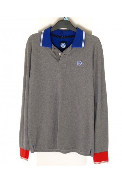 Tričko Slim Fit šedé s modrým límečkem vel S