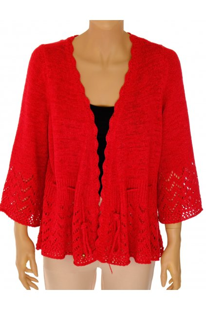 Kardigan George červený zdobený krajkovým vzorem vel XL