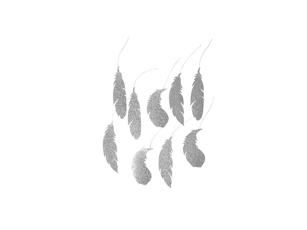 Dekorace Broste Feather stříbrná 13cm | stříbrná