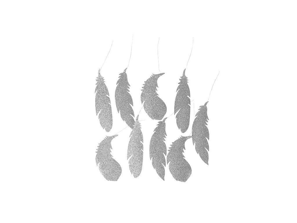 Dekorace Broste Feather stříbrná 20,5cm | stříbrná