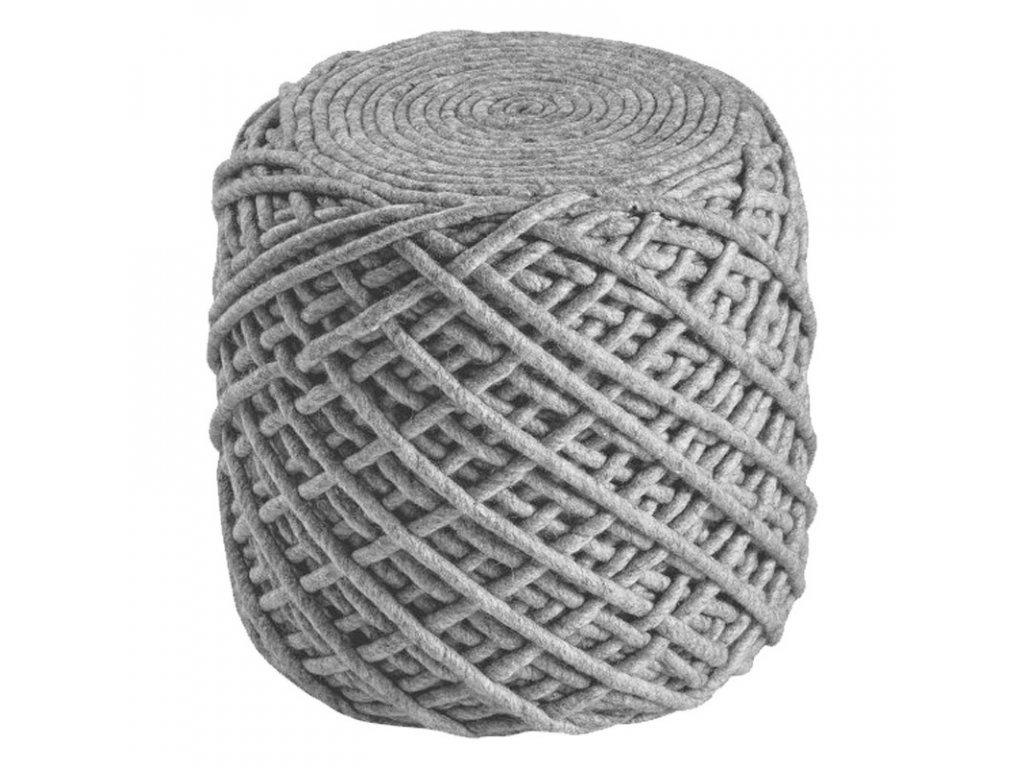 Vlněný designový puf Royal Obsession 40x40 cm | šedý