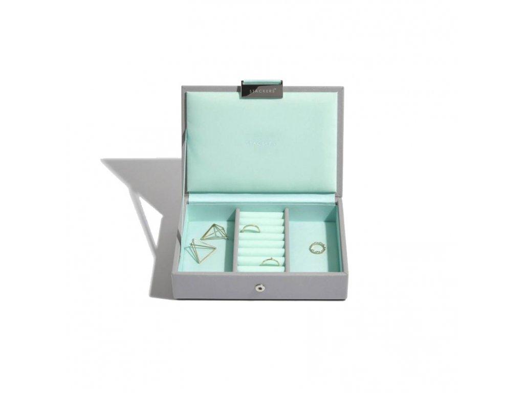 Šperkovnice Stackers Grey Mint Mini Lid | tyrkysová