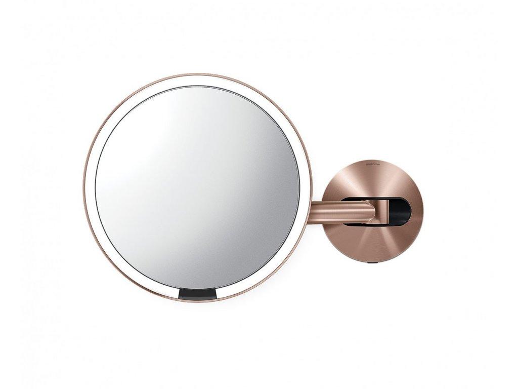 Nástěnné kosmetické zrcadlo s LED osvětlením Simplehuman Sensor, síťové, 20 cm | zlato růžová