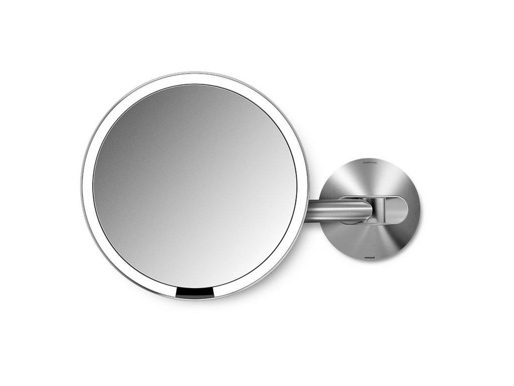 Nástěnné kosmetické zrcadlo s LED osvětlením Simplehuman Sensor, dobíjecí, 20 cm | nerezová