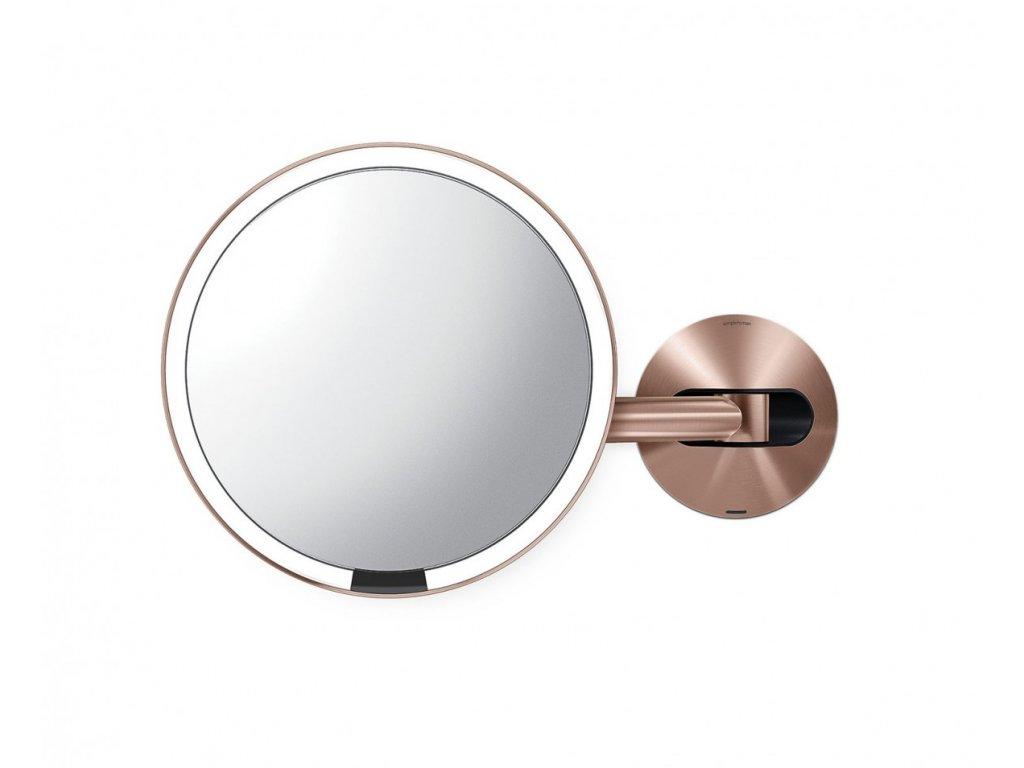 Nástěnné kosmetické zrcadlo s LED osvětlením Simplehuman Sensor, dobíjecí, 20 cm | zlato růžová