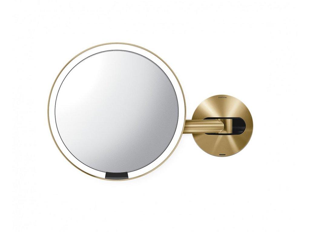 Nástěnné kosmetické zrcadlo s LED osvětlením Simplehuman Sensor, dobíjecí, 20 cm   mosazná
