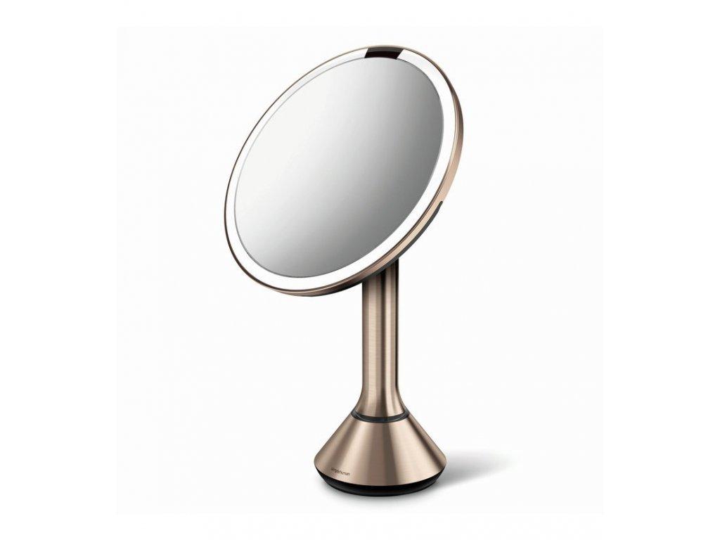 Stolní kosmetické zrcadlo s LED osvětlením a dotykovým ovládáním Simplehuman Sensor Mirror, 20 cm | zlato růžová