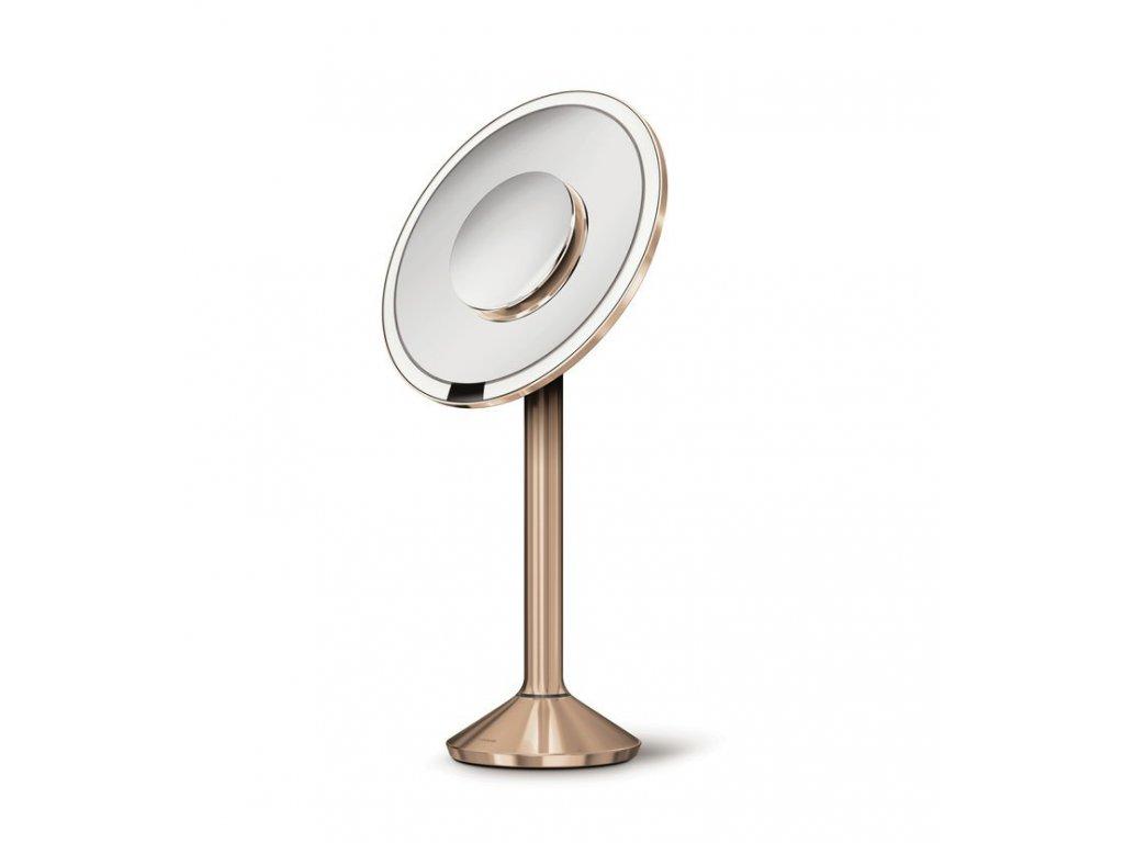 Stolní kosmetické zrcadlo s LED osvětlením a dotykovým ovládáním Simplehuman Sensor Pro, 20 cm | zlato růžová