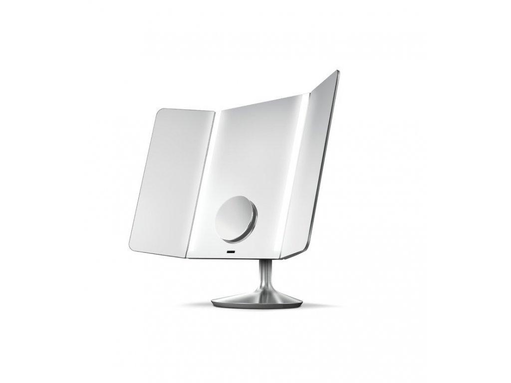 Stolní kosmetické zrcadlo s LED osvětlením a dotykovým ovládáním Simplehuman Wide View, 40,5 cm | nerezová