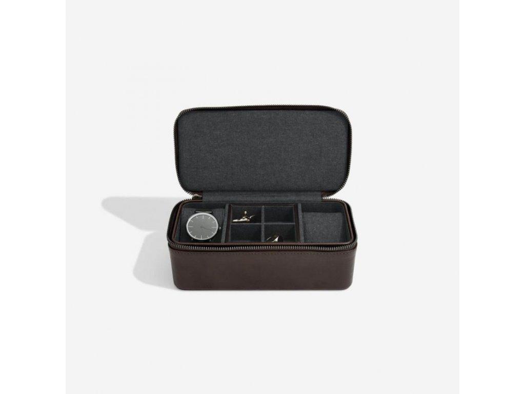 Pánská cestovní šperkovnice Stackers Brown Large Travel Watch and Cufflink Box | hnědá