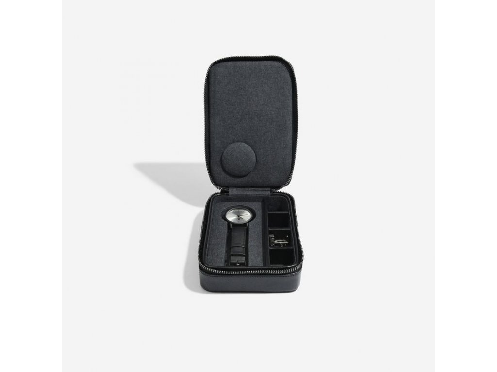 Pánská cestovní šperkovnice Stackers Black Travel Watch and Cufflink Box | černá
