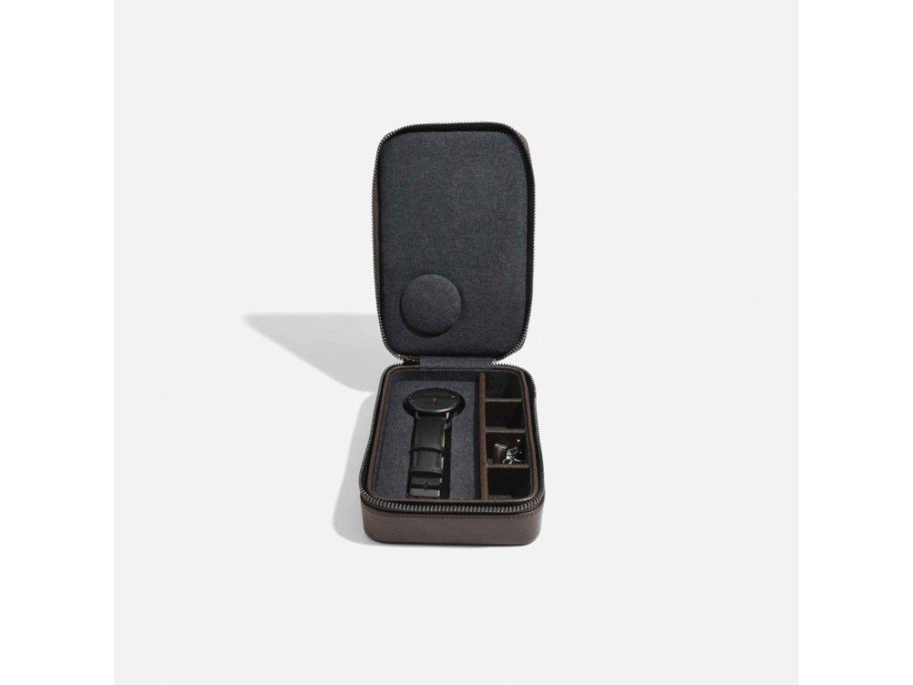 Pánská cestovní šperkovnice Stackers Brown Travel Watch and Cufflink Box | hnědá