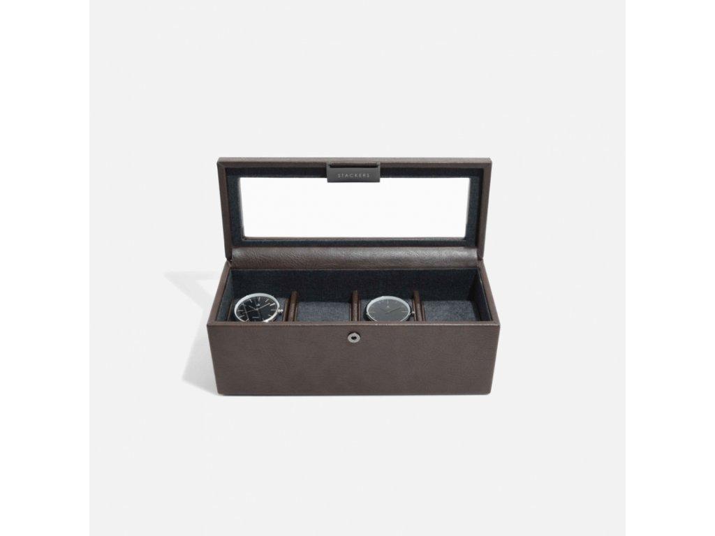 Kazeta na hodinky Stackers Brown 4 Piece Watch Box | hnědá