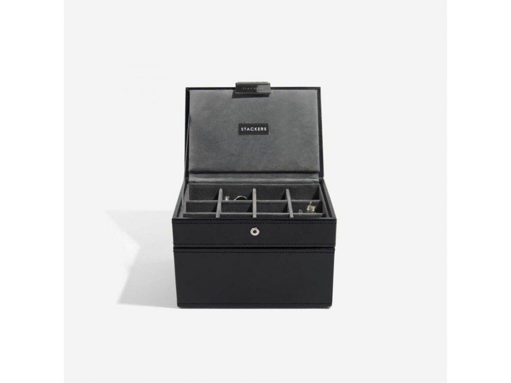 Pánská šperkovnice Stackers Black Cufflink & Watch Box | černá