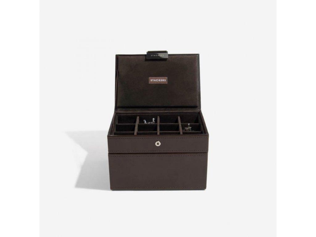 Pánská šperkovnice Stackers Brown Cufflink & Watch Box | hnědá