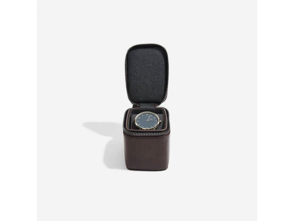 Pánská cestovní šperkovnice na hodinky Stackers Brown Small Travel Watch Box | hnědá