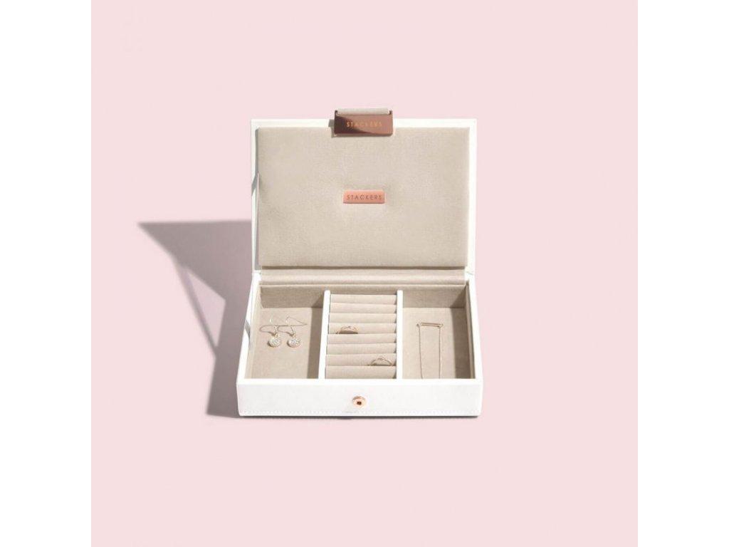 Šperkovnice Stackers White Rose Gold Mini Lid   bílá
