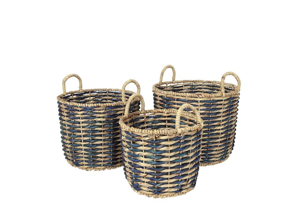 Sada 3 košíků Broste Kamilla Sea | zelenomodrá