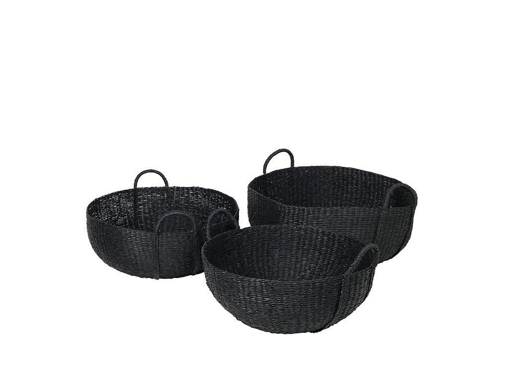 Sada 3 košíků Broste Astrid Sea Grass   černá