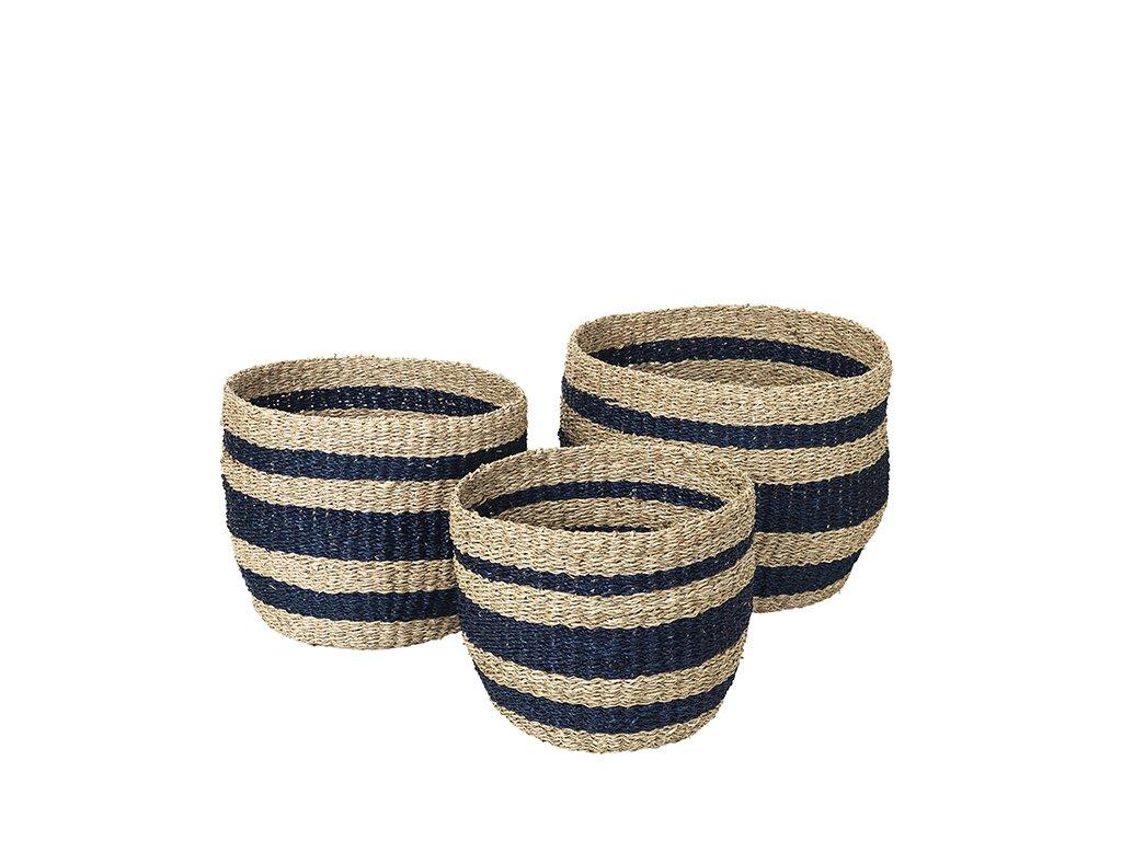 Sada 3 košíků Broste Aggie Sea Grass   modré pruhy