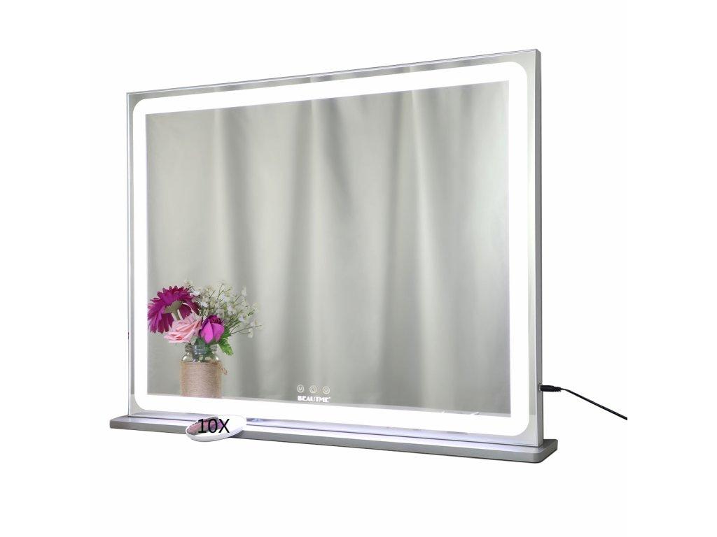 Hollywoodské make-up zrcadlo s osvětlením MMIRO 72 x 56 cm   stříbrná