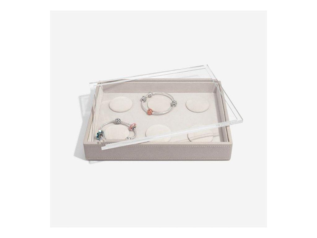 Box na šperky s průhledným víkem Stackers Taupe Classic 6 Charm Bracelet   šedobéžová