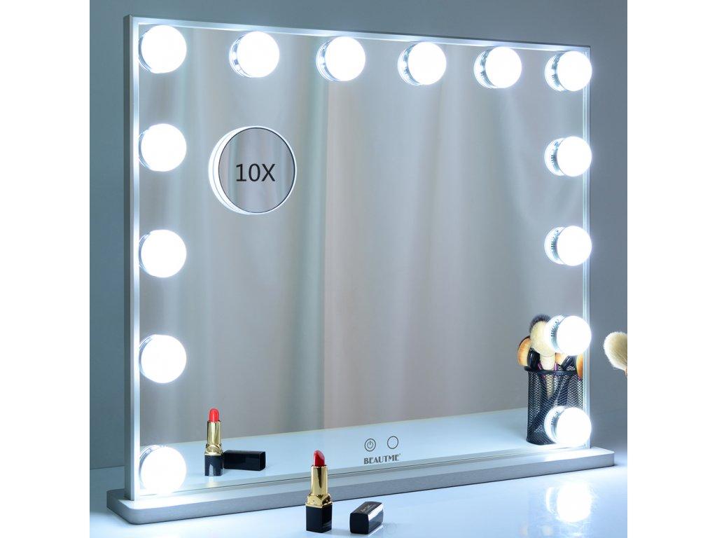 Stolní zrcadlo make-up MMIRO bez rámu 62 x 53 cm | stříbrná