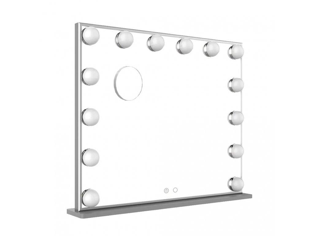 Hollywoodské make-up zrcadlo s osvětlením MMIRO bez rámu 62 x 53 cm | stříbrná
