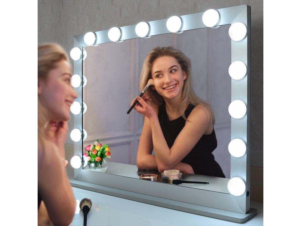 Stolní zrcadlo make-up MMIRO 70 x 55,2 cm   stříbrná