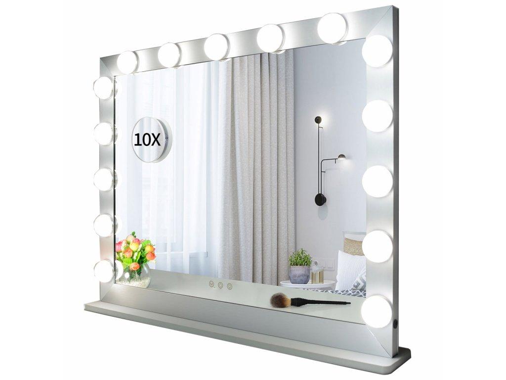 Hollywoodské make-up zrcadlo s osvětlením MMIRO 70 x 55 cm   stříbrná