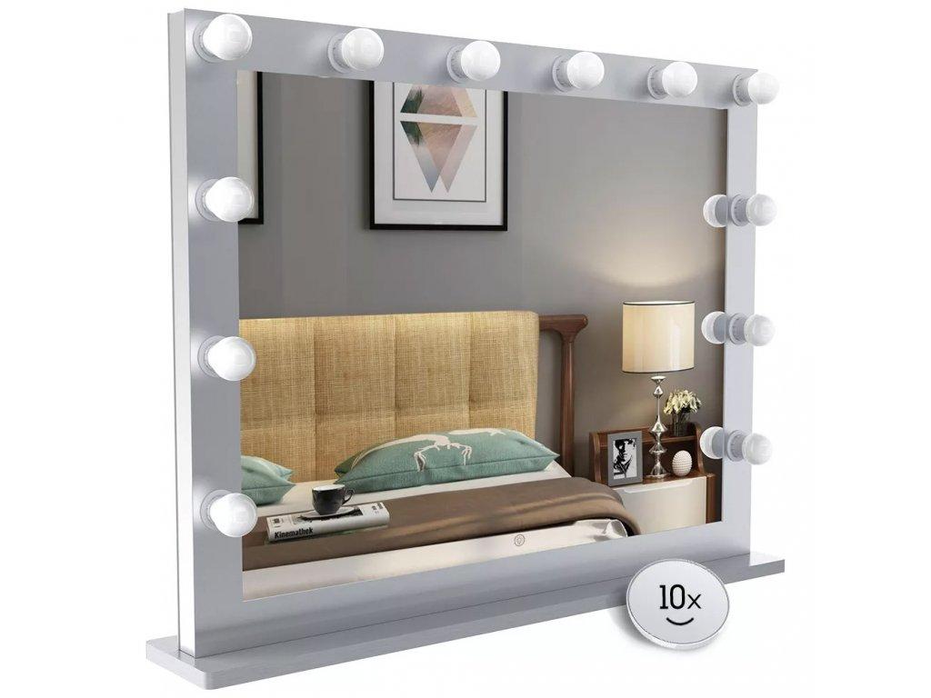 Hollywoodské make-up zrcadlo s osvětlením MMIRO L607, 87 x 68 cm   stříbrná