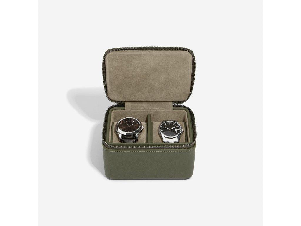 Pánská šperkovnice Stackers Olive Green Large Zipped Watch Box | zelená