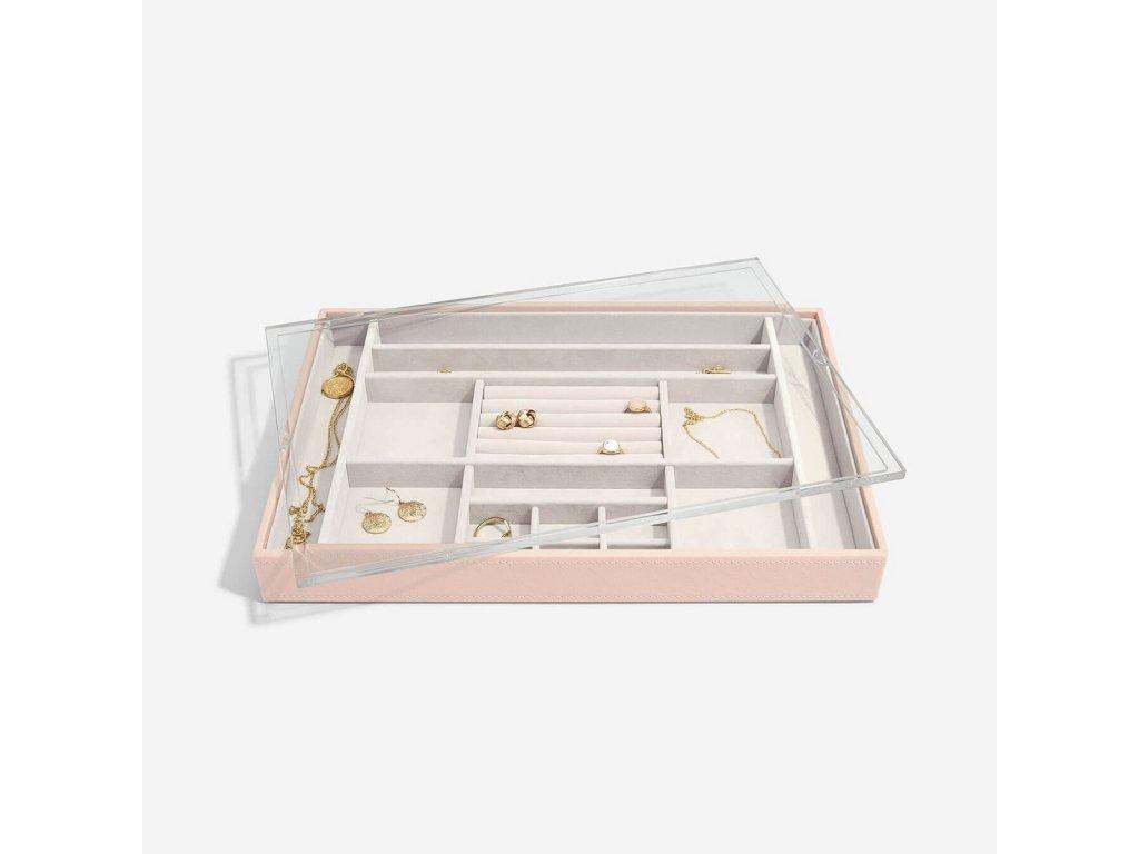 Box na šperky s průhledným víkem Stackers Blush Supersize Ring & Accessory Layer with Display Lid | růžová