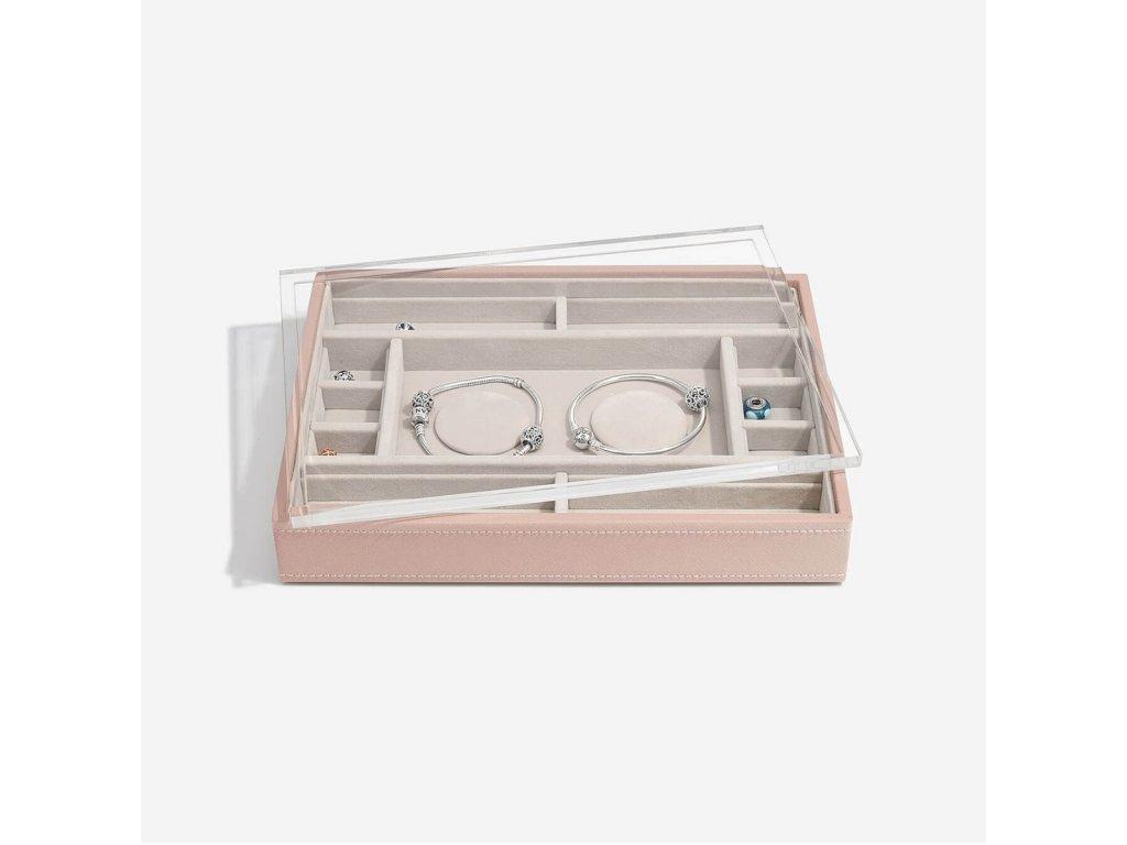 Box na šperky s průhledným víkem Stackers Taupe Classic 2 Charm Bracelet Layer & Display Lid | růžová