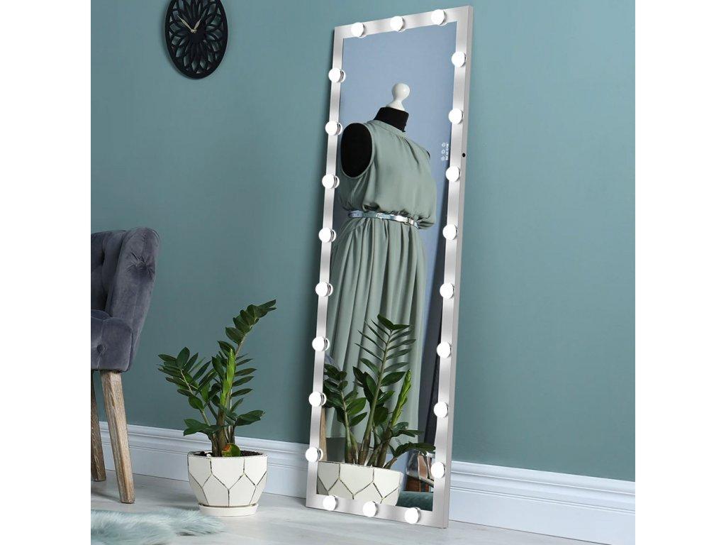 Stojací hollywoodské make-up zrcadlo s osvětlením MMIRO F2S 160 x 60 cm   stříbrná