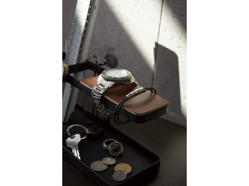Multifunkční stojánek s dřevěnou poličkou YAMAZAKI Tower 2300 Desk Bar | černý